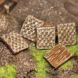 Square Wooden and Wicker Shields x5