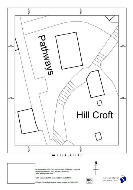 "1:250 Ordnance Survey A4 Sitemap ""Block Plan"""
