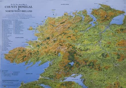 Aerial Map of Co. Donegal & Northwest Ireland - Flat