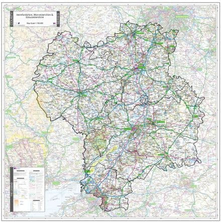 County Map of Herefordshire, Worcestershire & Gloucestershire - Special Sheet