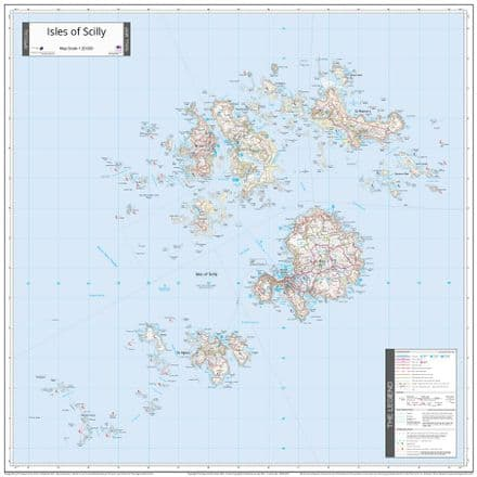 Isles of Scilly - 1:20,000 - Wall Map - The Map Centre Press