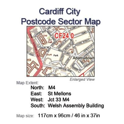 Postcode City Sector Maps 3 Cardiff