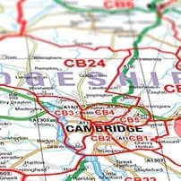 Postcode District Maps  a set of six maps showing the first half of the postcode, eg HR1