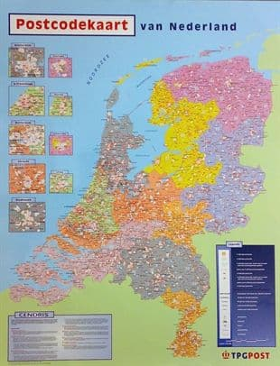 Postcode Map Of The Netherlands - Laminated