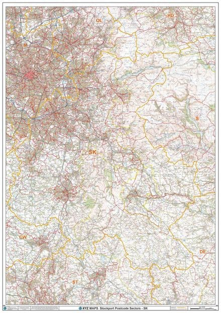 Stockport - SK - Postcode Sector Wall Map