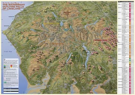 The Wainwright OUTLYING Fells of the Lake District - Laminated