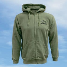 Zipped Hooded Sweatshirt - Olive - Vulcan XH558